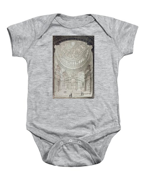 Interior Of Saint Pauls Cathedral Baby Onesie by John Coney