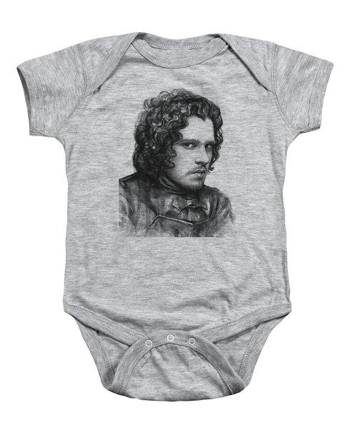 Jon Snow Game Of Thrones Baby Onesie by Olga Shvartsur