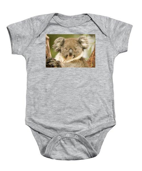 Koala Snack Baby Onesie by Mike  Dawson