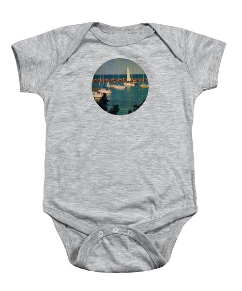 Lake Michigan Sailboats Baby Onesie by Mary Wolf