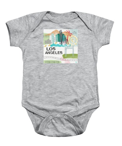 Los Angeles Cityscape- Art By Linda Woods Baby Onesie by Linda Woods