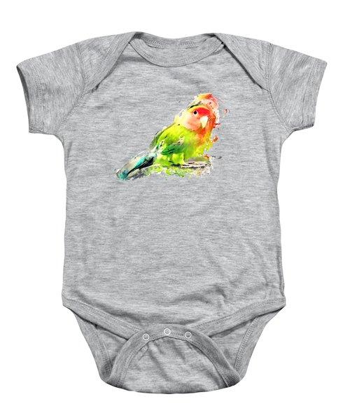 Lovebird Watercolor Painting Baby Onesie by Justyna JBJart