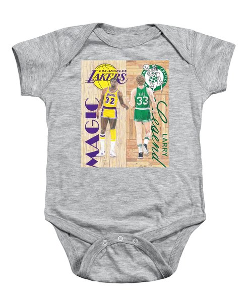Magic Johnson And Larry Bird Baby Onesie by Chris Brown