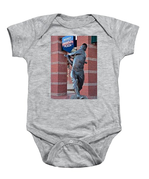Mickey Mantle Plaza Baby Onesie by Frozen in Time Fine Art Photography