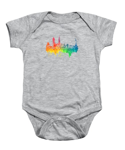 New York City Skyline Color Baby Onesie by Justyna JBJart