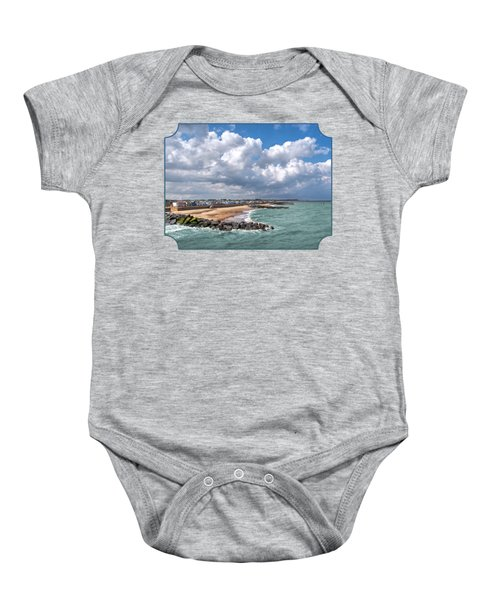 Ocean View - Colorful Beach Huts Baby Onesie by Gill Billington