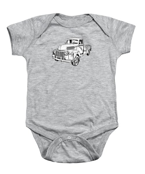 Old Flat Bed Ford Work Truck Illustration Baby Onesie by Keith Webber Jr
