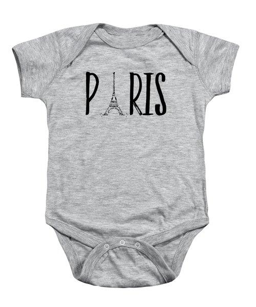 Paris Typography Baby Onesie by Melanie Viola
