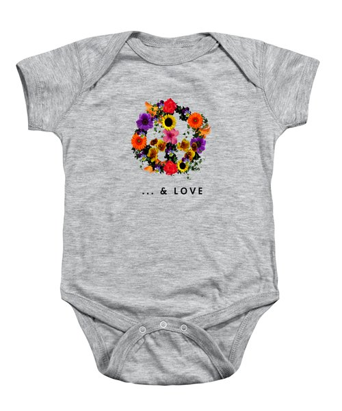 Peace And Love Baby Onesie by Les Caprices De Filles