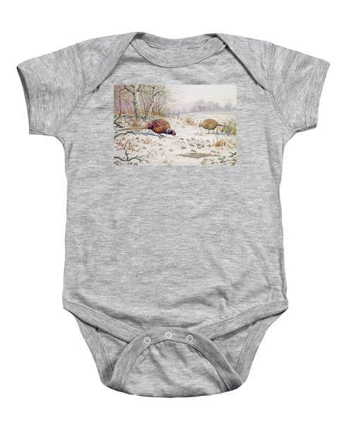 Pheasant And Partridge Eating  Baby Onesie by Carl Donner