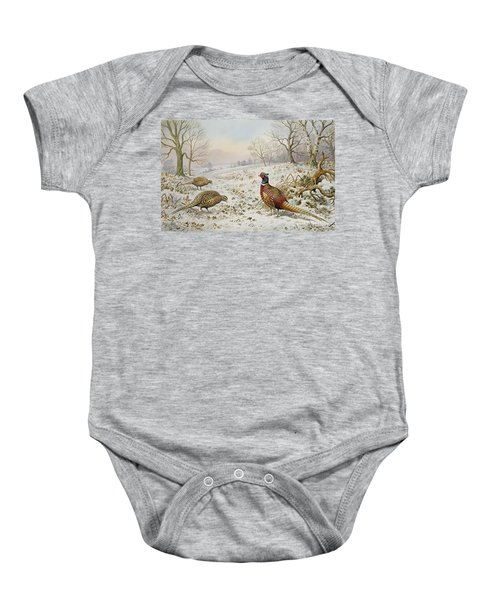 Pheasant And Partridges In A Snowy Landscape Baby Onesie by Carl Donner