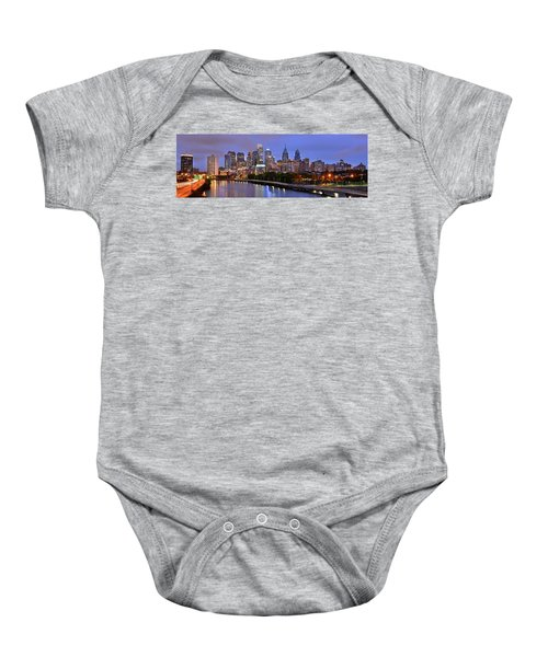 Philadelphia Philly Skyline At Dusk From Near South Color Panorama Baby Onesie by Jon Holiday