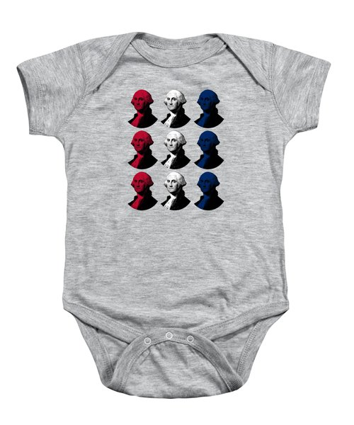 President George Washington - Red, White, And Blue  Baby Onesie by War Is Hell Store