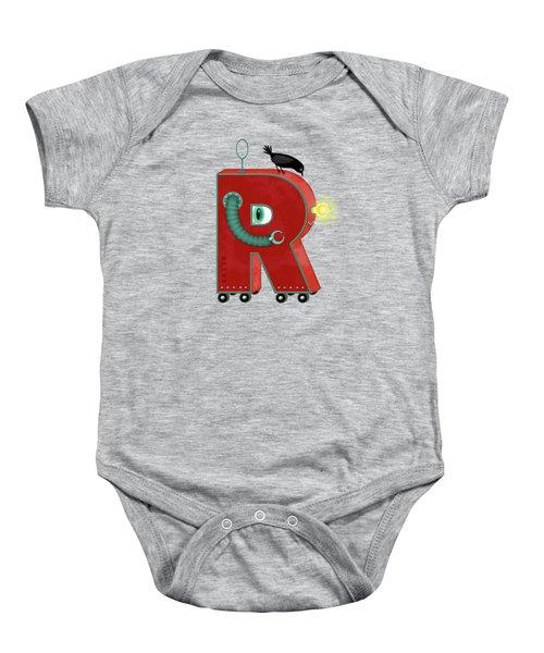 R Is For Robot Baby Onesie by Valerie Drake Lesiak