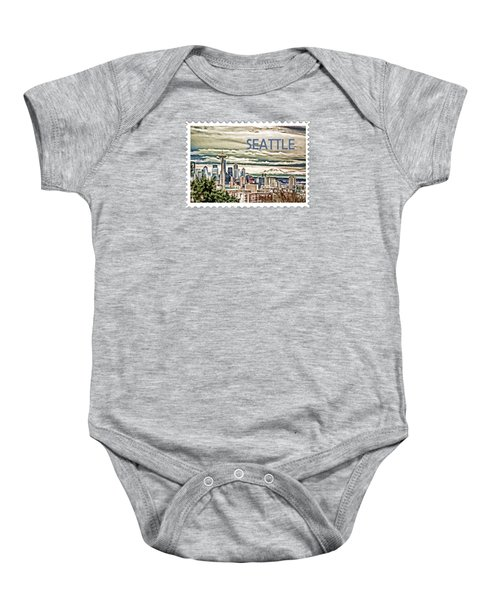 Seattle Skyline In Fog And Rain Text Seattle Baby Onesie by Elaine Plesser