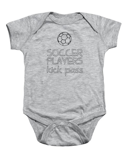 Soccer Players Kick Pass Poster Baby Onesie by Liesl Marelli