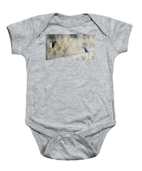 Starling Attack Baby Onesie by Mike Dawson
