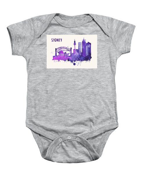 Sydney Skyline Watercolor Poster - Cityscape Painting Artwork Baby Onesie by Beautify My Walls