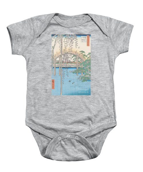 The Bridge With Wisteria Baby Onesie by Hiroshige