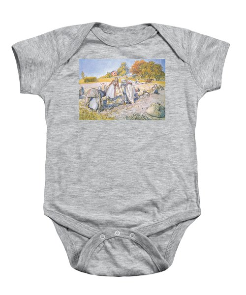 The Children Filled The Buckets And Baskets With Potatoes Baby Onesie by Carl Larsson
