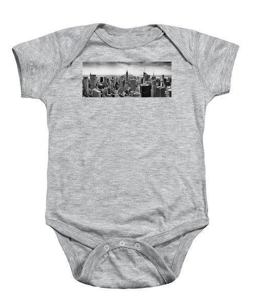 New York City Skyline Bw Baby Onesie by Az Jackson