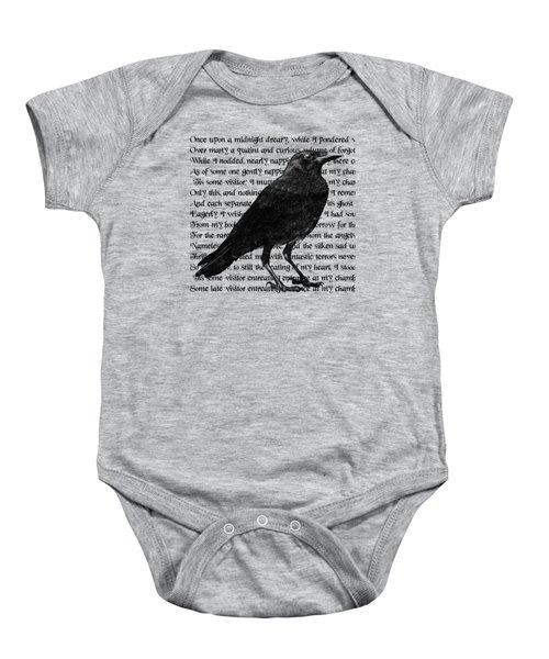 The Raven Poem Art Print Baby Onesie by Sandra McGinley