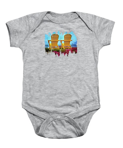 The Yellow Chairs By The Sea Baby Onesie by Thom Zehrfeld