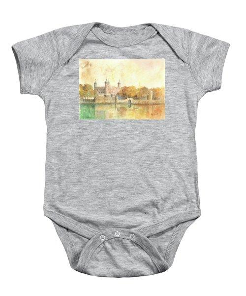 Tower Of London Watercolor Baby Onesie by Juan Bosco