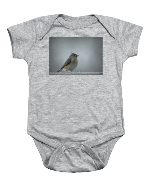 Tufted Titmouse In The Snow Baby Onesie by Cricket Hackmann