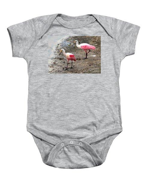 Two Roseate Spoonbills Baby Onesie by Carol Groenen