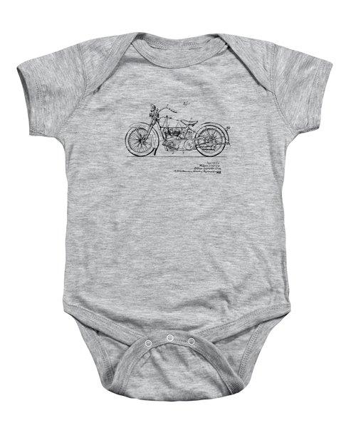 Vintage Harley-davidson Motorcycle 1928 Patent Artwork Baby Onesie by Nikki Smith