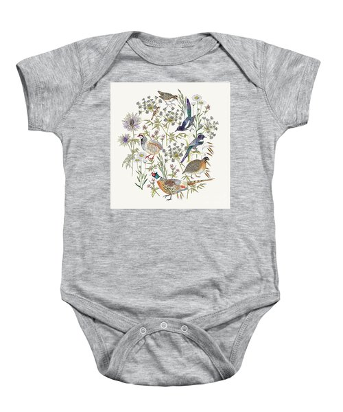 Woodland Edge Birds Placement Baby Onesie by Jacqueline Colley