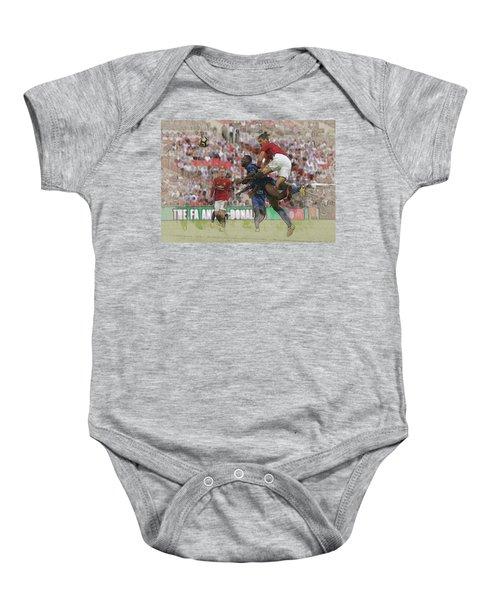 Zlatan Ibrahimovic Header Baby Onesie by Don Kuing