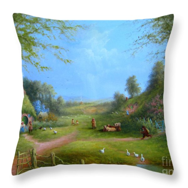A Hobbits Adventure.late For An Appointment Throw Pillow by Joe  Gilronan