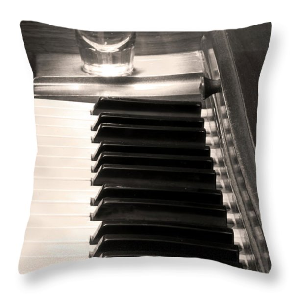 A Shot Of Bourbon Whiskey And The Bw Piano Ivory Keys In Sepia Throw Pillow by James BO  Insogna