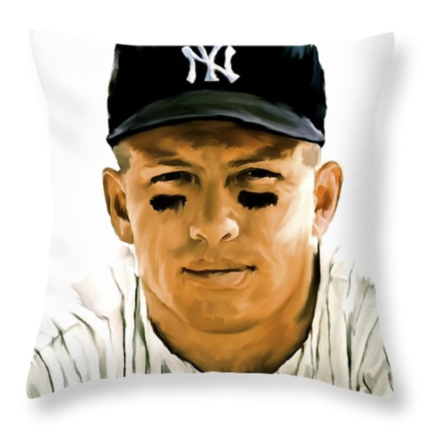 American Icon Mickey Mantle Throw Pillow by Iconic Images Art Gallery David Pucciarelli
