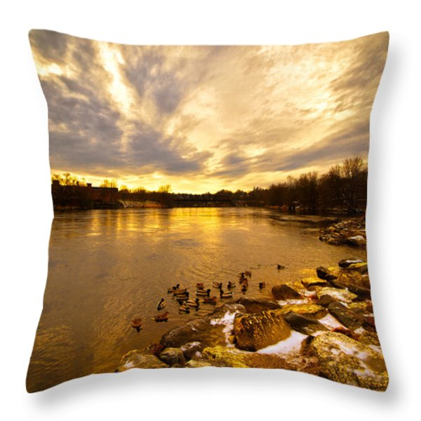 Androscoggin River Between Lewiston And Auburn Throw Pillow by Bob Orsillo