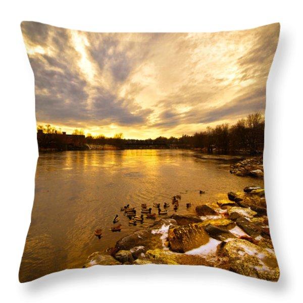 Androscoggin River between Lewiston and Auburn Throw Pillow by Bob Orsillo