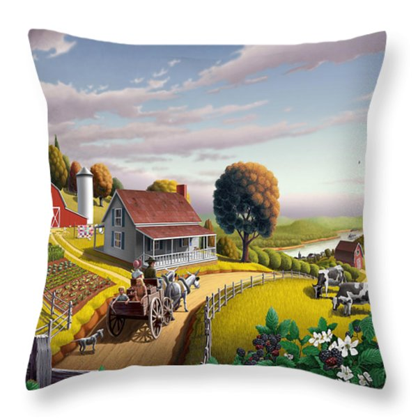 Appalachian Blackberry Patch Rustic Country Farm Folk Art Landscape - Rural Americana - Peaceful Throw Pillow by Walt Curlee
