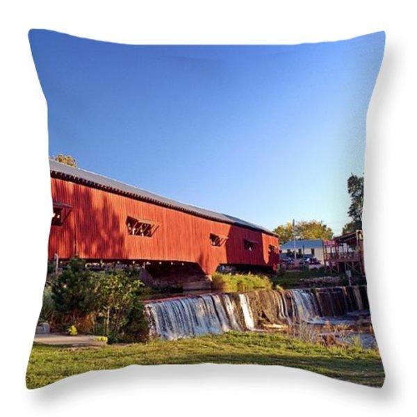 Bridgeton Covered Bridge 2 Throw Pillow by Marty Koch