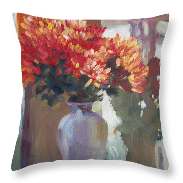 Chrysanthemums In Vase Throw Pillow by David Lloyd Glover