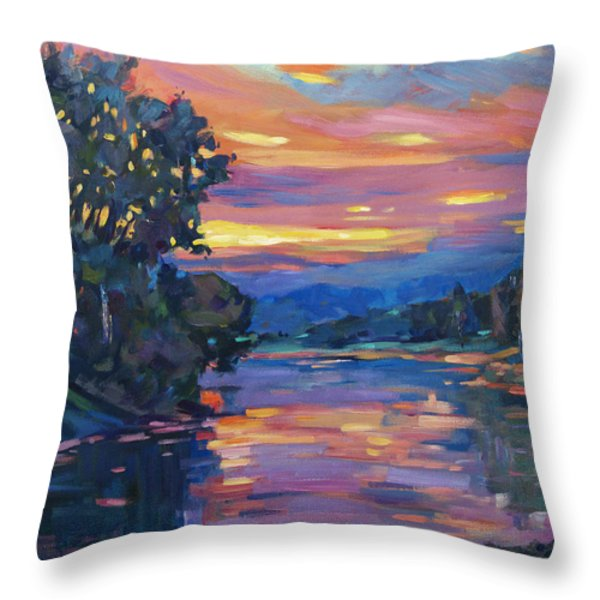 Dusk River Throw Pillow by David Lloyd Glover