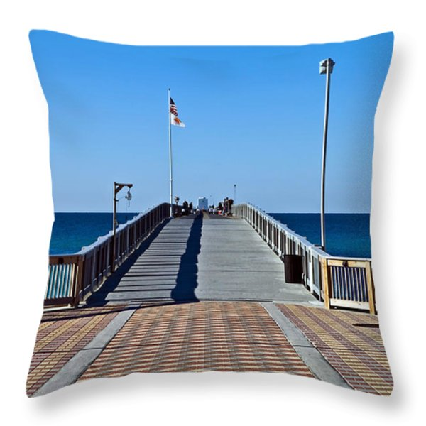 Fishing Pier Throw Pillow by Susan Leggett