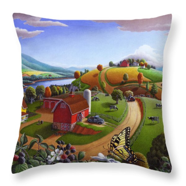 Folk Art Blackberry Patch Rural Country Farm Landscape Painting - Blackberries Rustic Americana Throw Pillow by Walt Curlee
