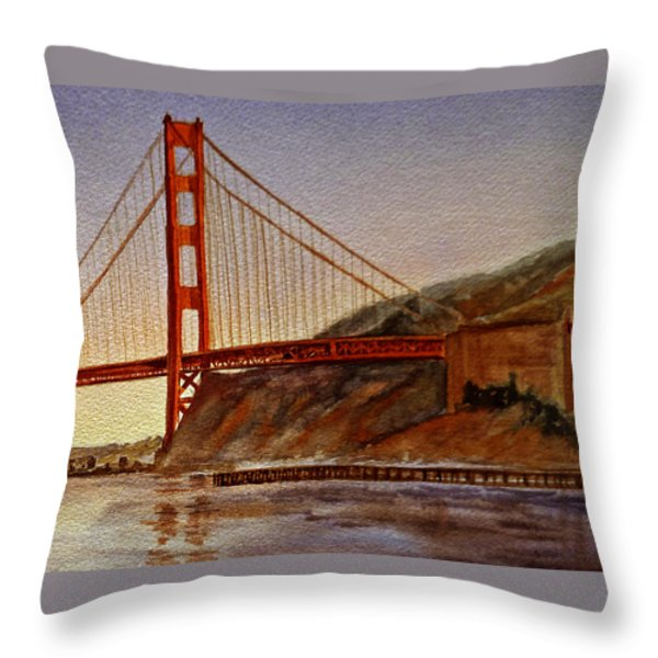 Golden Gate Bridge San Francisco California Throw Pillow by Irina Sztukowski