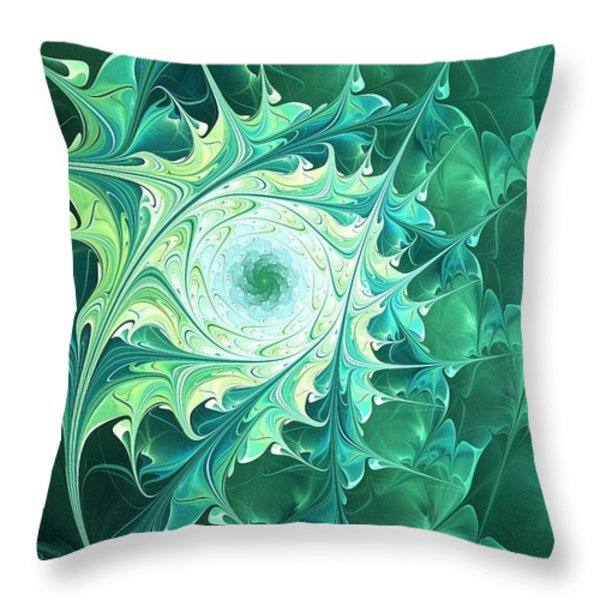 Green Magic Throw Pillow by Anastasiya Malakhova