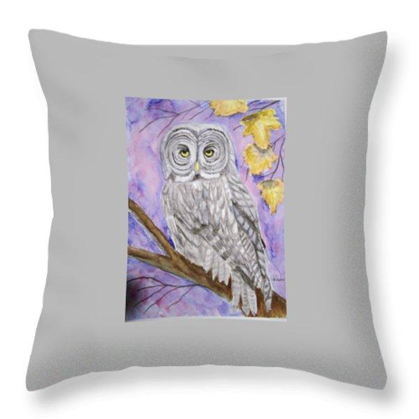 Grey Owl Throw Pillow by Belinda Lawson