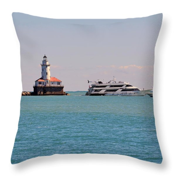 Historical Chicago Harbor Light Throw Pillow by Christine Till