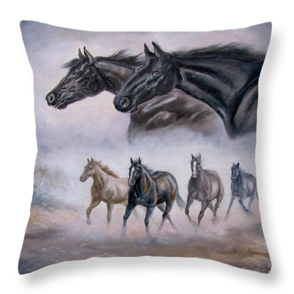 Horse Painting Distant Thunder Throw Pillow by Gina Femrite