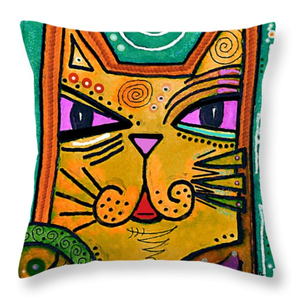 House Of Cats Series - Fish Throw Pillow by Moon Stumpp